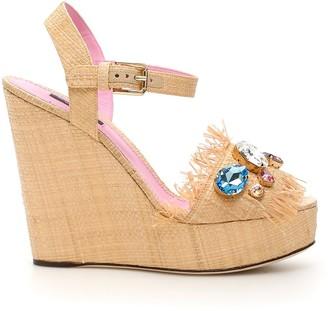 Dolce & Gabbana Embroidered Wedge Sandals