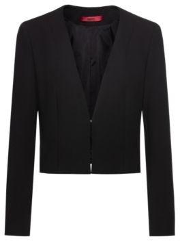 HUGO BOSS Cropped Slim Fit Jacket With Hook Closure - Black