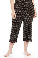 Kensie Plus Dotted Jersey & Lace Capri Sleep Pants