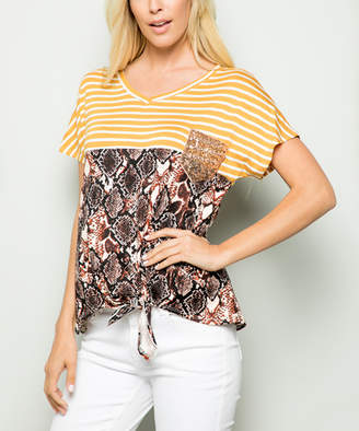 Celeste Women's Tee Shirts MUSTARD - Yellow & Mauve Stripe Snake Tie-Front V-Neck Top - Women