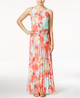 B. Darlin Juniors' Floral-Print Chiffon Pleated Maxi Dress