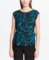 Calvin Klein Printed Cap-Sleeve Blouse