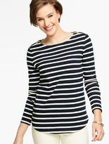 Talbots Castine Stripes Zip-Shoulders Tee