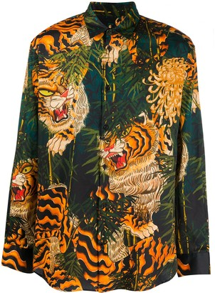 DSQUARED2 Tiger Bamboo-Print Long-Sleeved Shirt