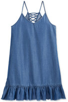 Epic Threads Denim Lace-Up Dress, Big Girls (7-16)