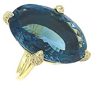 Ippolita Rock Candy 18K Yellow Gold, London Blue Topaz & Diamond Claw Ring