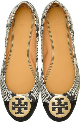 Tory Burch Roccia Snake Printed Leather Minnie Cap-Toe Ballerinas
