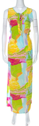 Escada Multicolor Printed Silk Side Slit Detail Maxi Dress XL