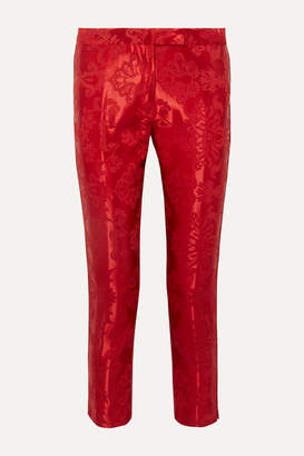 Ann Demeulemeester Cropped Cord-trimmed Satin-jacquard Straight-leg Pants - Red