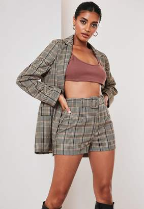 Missguided Brown Co Ord Check Self Fabric Belted Shorts