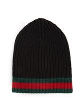Gucci Striped-edge ribbed-wool beanie hat