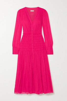 Jason Wu Shirred Silk-crepon Midi Dress - Bright pink