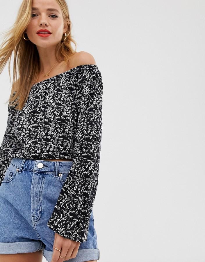 Raga Wild Love off shoulder blouse-Black
