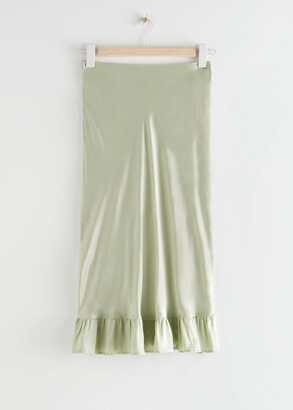 And other stories Ruffled Crepe Midi Skirt