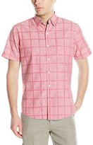 Izod Men's Saltwater Dockside Chambray Windowpane Short Sleeve Shirt