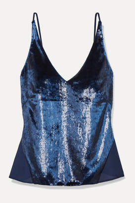 J Brand Lucy Metallic Velvet And Chiffon Camisole - Navy