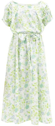 Thierry Colson Vera Floral-print Cotton-voile Dress - Green Blue Print