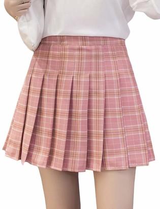 Hahaemma Women's Sexy A-line School Girl Style Plaid Pleated Woolen Skirt Elegant Winter Tartan Printed High Bond Stretch Lace Flounce Mini Dress with Beautiful Waist Chain Plus Size Red
