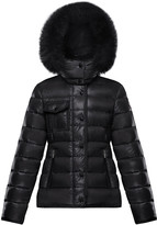 Moncler Armoise Quilted Nylon Puffer Jacket w/ Fur Trim, Size 8-14
