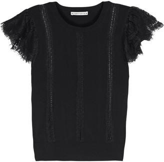 Alice + Olivia Rosio Lace-trimmed Stretch-knit Top