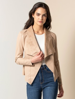 Forever New Lena Waterfall Jacket - Stone - 10