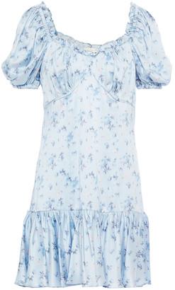 LoveShackFancy Catalina Ruffled Floral-print Silk-satin Mini Dress