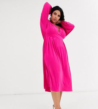 Asos DESIGN Curve long sleeve v neck midi dress-Pink