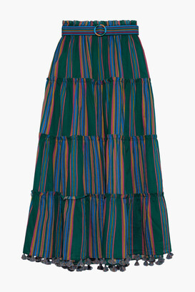 Zimmermann Allia Belted Striped Cotton-voile Maxi Skirt