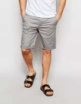 Asos Slim Chino Shorts In Warm Grey