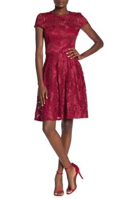 Marina Lace Cap Sleeve Fit & Flare Dress