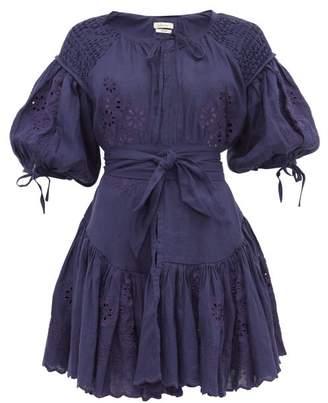 Innika Choo Meg Nettick Floral-embroidered Mini Dress - Womens - Navy