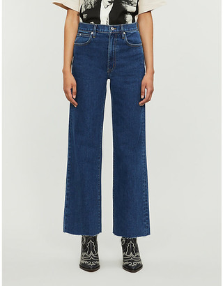 SLVRLAKE Grace cropped wide-leg high-rise jeans