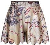 Pink Queen Womens Khaki Ancient World Map Print Corrugated Hem Shorts