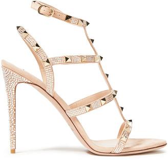 Valentino Rockstud Crystal-embellished Suede Sandals