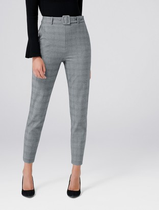 Forever New Emily High-Waist Check Pants - Grey Check - 10