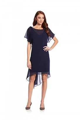 Adrianna Papell Chiffon Overlay Draped Dress In Navy