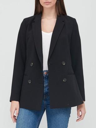 Very Longline Double Breasted Blazer - Black