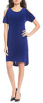 Jones New York Short Sleeve Cold Shoulder Stud Trim Knit Crepe Shift Dress