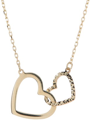 Candela 10K Yellow Gold Interlocking Hearts Pendant Necklace