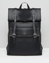 Asos Smart Backpack In Faux Leather With Roll Top