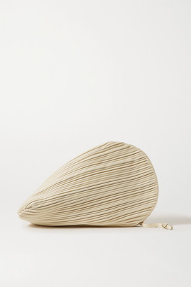 Neous Pluto Pleated Leather Clutch - Cream