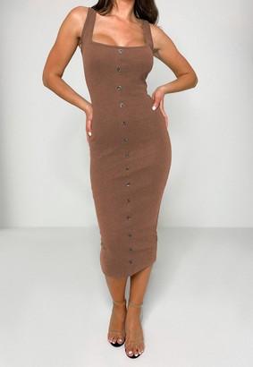 Missguided Tan Rib Tortoiseshell Button Midaxi Dress