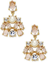 Kate Spade Gold-Tone Imitation Pearl and Crystal Drop Earrings