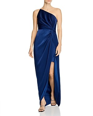 Aidan Mattox One-Shoulder Draped Charmeuse Gown - 100% Exclusive