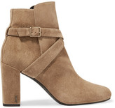 Saint Laurent Babies Buckled Suede Ankle Boots - Taupe