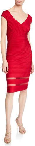 Tadashi Shoji V-Neck Cap-Sleeve Pintuck Sheath Dress w/ Mesh Insets