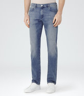 Reiss Reiss Watergate - Slim-fit Washed Jeans In Blue