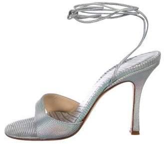 Jimmy Choo Textured Suede Iridescent Sandals