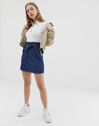 Only paperbag belted denim skirt-Blue