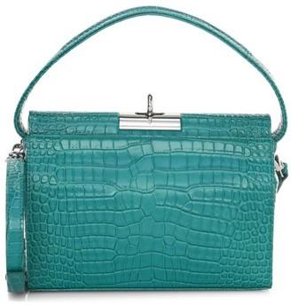 Gu De Small Milky Croc-Embossed Leather Crossbody Bag